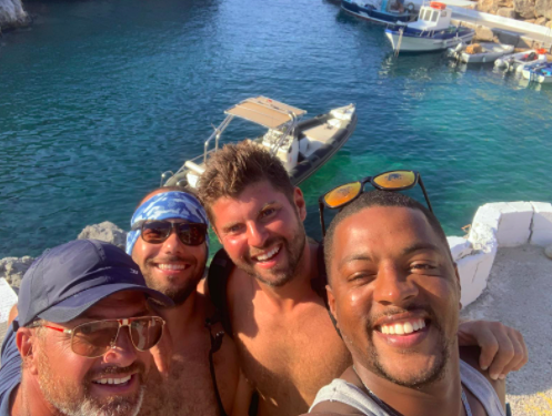 Fishing Trips in Crete. Our group Selfie in Antikythera Port